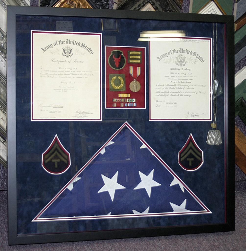 Framed Service award US Flag